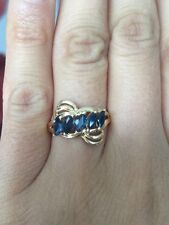 $699 High Quality 14K Solid Yellow Gold Natural Blue Sapphire 10mm Ring Sz 6.25