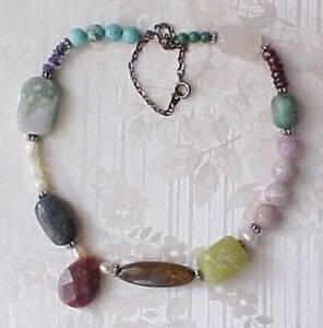 Asymmetrical-Necklace-Multi-Gemstones-Choker-Sundance-Handmade-Bohemian-Gypsy