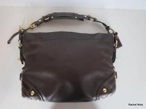 Coach-Handbag-Purse-Tote-Shoulder-Bag-Size-M-Medium-Brown-Leather-Wide-Strap