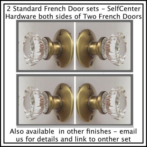 Two Complete AB FRENCH DOOR Knob Set KNOBS On Both Sides of Two FRENCH DOORS