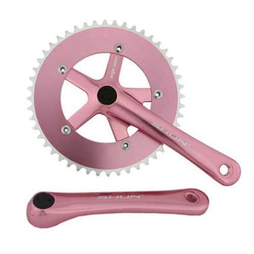 Pink Shun 48T Alloy 170 Single Speed Fixed Gear Track Fixie Crankset Crank Set