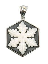 "Handcrafted Snowflake Black Stone and White Mother of Pearl Pendant 1 3/4"" x 1"""