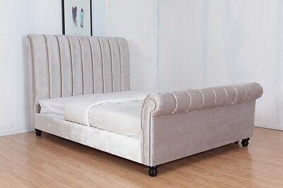 Silver Sleigh Style Plush Velvet Upholstered Fabric Bed