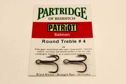 PATRIOT ROUND BEND TREBLES CODE X6  FLY FISHING HOOKS FROM PARTRIDGE