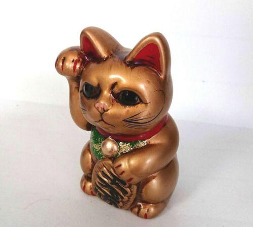 Maneki neko Tokoname yaki Gold Japanese Lucky cat Coin Bank Right hand Japan