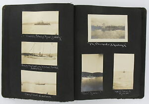 PHOTO ALBUM 1909 Albumen Manowar Battleships ROBERT PEARY Northfield MA DL Moody