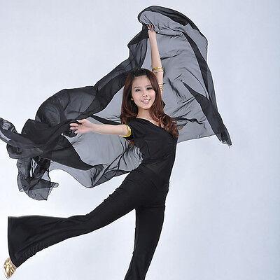 Women's Costume Belly Dance Chiffon Shawl Veil With Gold Trim BD-040
