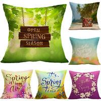 Vintage Flax Pillow Case Floral Throw Waist Cushion Cover Car Sofa Home Decor UK