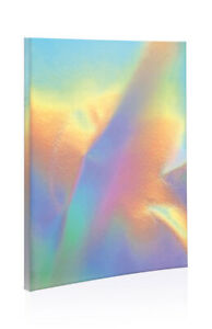 Retro-A5-Softcover-Shimmering-Iridescent-Effect-Silver-Notebook-Notepad-80s