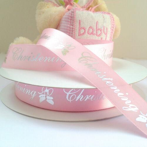 per 3 metres satin Christening ribbon blue //Pink silver writing 20mm wide