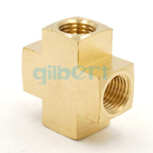 """1//4/"""" NPT Female Cross 4 Ways Brass Pipe Fitting Connector 229 PSI"""