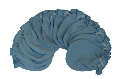 Solid Blue - 6 Pairs Cotton Newborn Baby/infant No Scratch Mittens Gloves