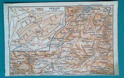 "1912 Map Baedeker 4 X 6"" 10 X 15,5 Cm Germany Gosslar Town Plan & Environs"
