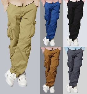 Mens-Match-Cargo-Pants-Solid-Military-Army-Combat-Style-Cotton-Workwear-Trousers