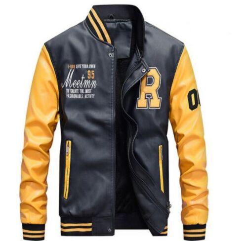 Stylish Mens Sport Baseball Jacket Stand Collar Coat Warm Motorcycles Outdoor