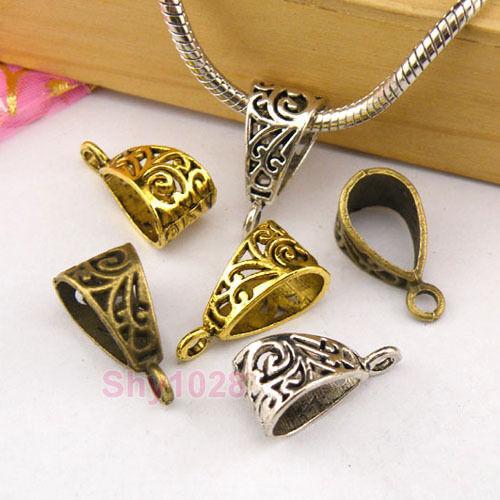 8Pcs Tibetan Silver,Gold,Bronze Charm Pendant Bail Connector Fit Bracelet M1288