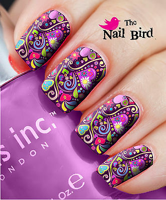 Nail Wraps Nail Art Nail Decals Nail Transfers  20 Super Cool Retro Love