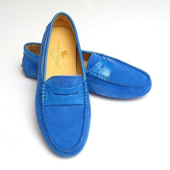 * NUOVO * Blue Suede & PATENT DESIGNER signore ITALIANO Scarpa 4 MOCASSINO DA DONNA