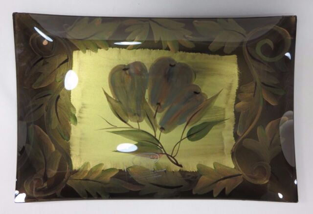 Certified International Glass Serving Tray Dawn Madison Designs Home Decor NEW