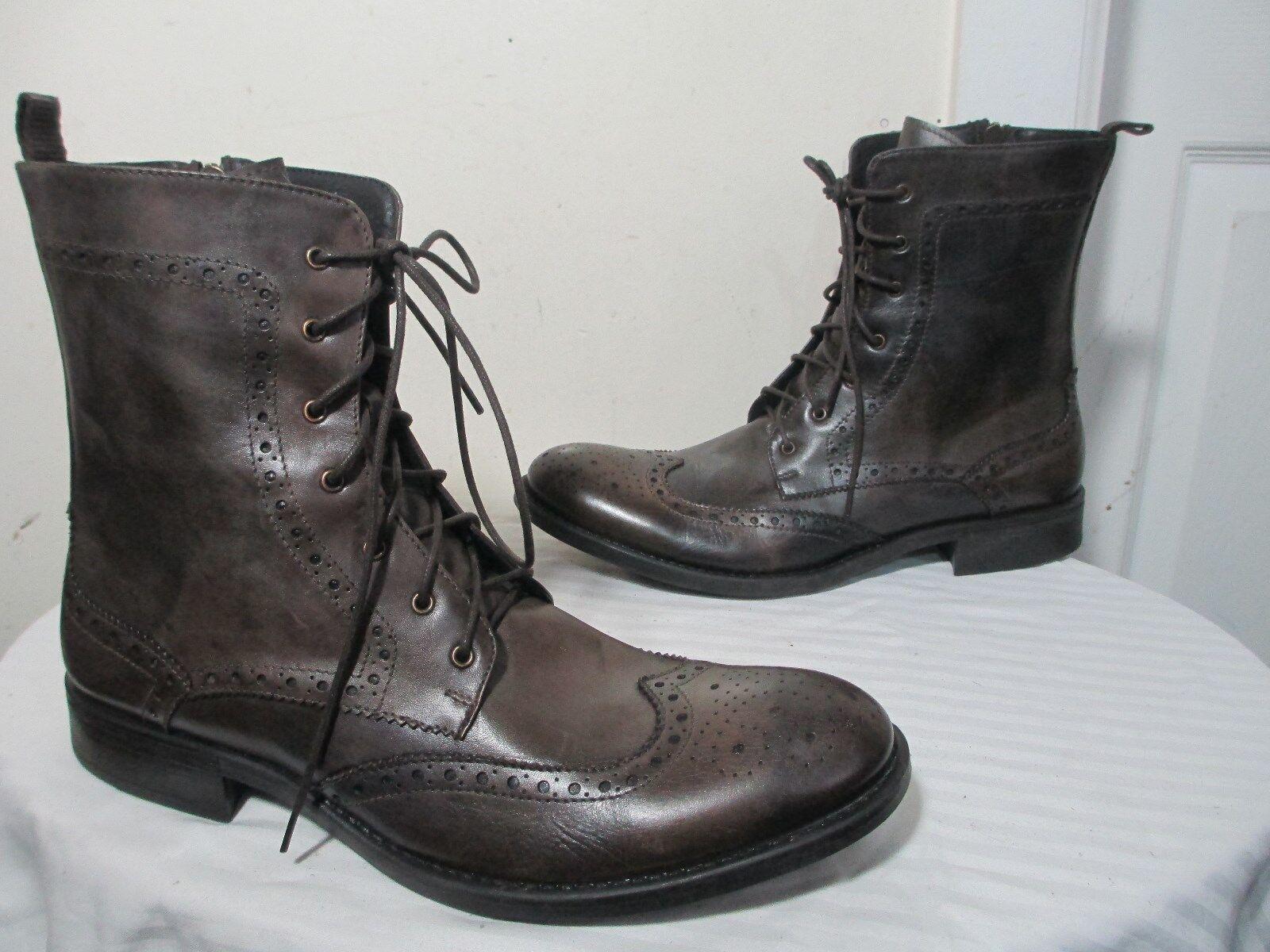 THOMPSON Hombre Cuero Pulido gris Con Cordones Cremallera botas De Combate Italia 43 US 10