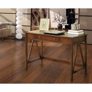 Pine Wood Brown Writing Desk With Single Wide Drawer Home Office Furniture New