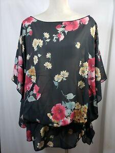 floral//striped black//pink//white Plus size poncho style top size 1X-2X,3X-4X