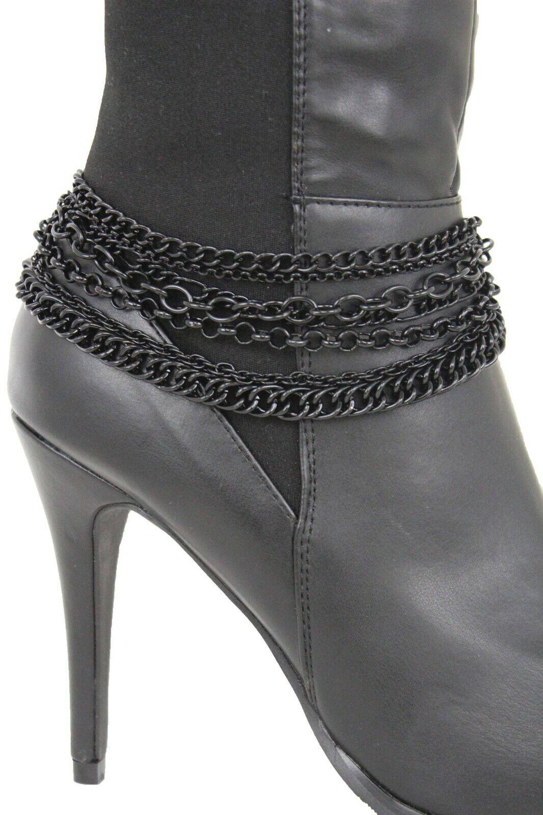 Fun Women Boot Black Metal Chain Western Fashion Bracelet Shoe Charm Multi Waves