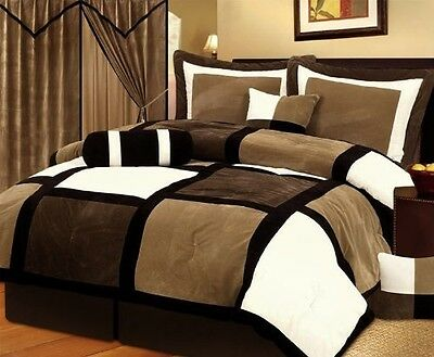 New Micro Suede 7-Piece King Size Bed in a Bag Comforter Set Bedroom Bedding