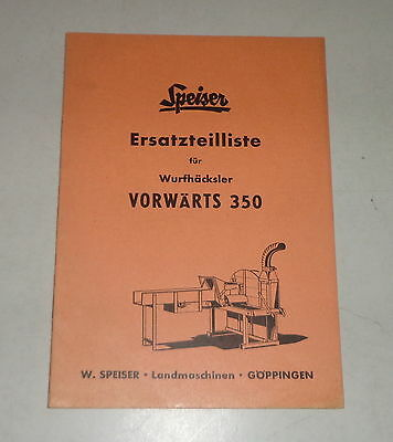 Responsible Parts Catalog/spare Parts List Speiser Wurfhäcksler Forwards 350 Perfect In Workmanship Farming & Agriculture Motors