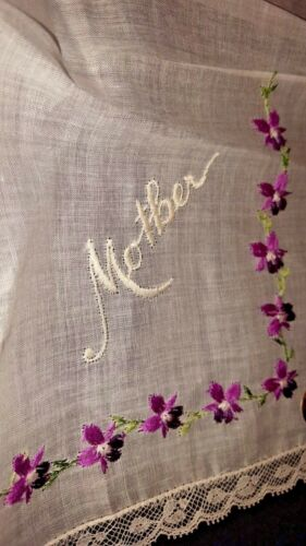 """Details about  /Swiss violet embroidered /""""MOTHER/""""  organdy linen Hankie Handkerchief 11/""""  New"""