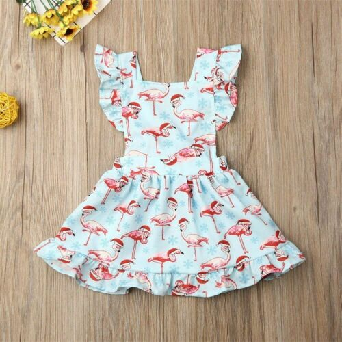 Cute Flamingo Dress Baby Girl 0-24M Newborn Christmas Tutu Clothes Casual Party