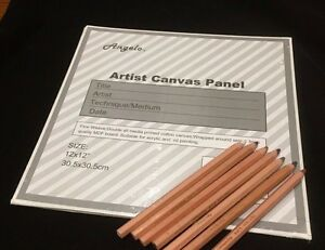 "10 Blank 12"" x 12"" Artist Canvas Panel Panels Board Art Drawing 30.5 x 30.5cm"