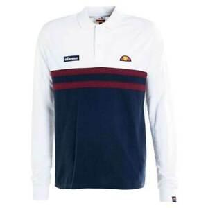 New-Ellesse-Mens-Polo-Shirt-Rugby-Top-Long-Sleeve-Burgundy-Navy-White-Logo