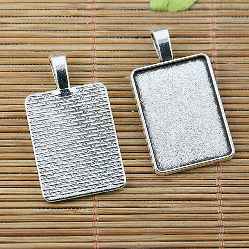 12pcs tibetan silver color rectangle shaped cabochon settings EF2491