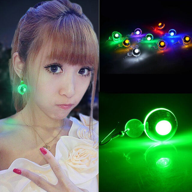 8Colors Fashion Light Up LED Bling Earrings Ear Studs Festival Party Accessories