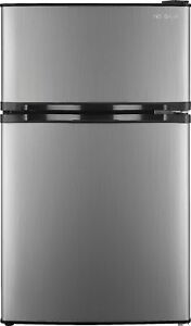 Insignia- 3.0 Cu. Ft. Mini Fridge with Top Freezer - Stainless steel