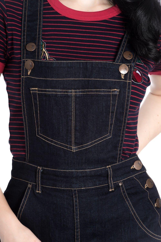 Hell Bunny Elly May Denim Jeans Landgirl 40s 50s Retro Rockabilly Dungarees