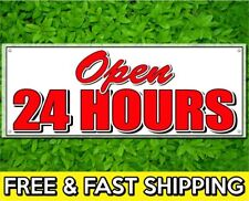 Open 24 Hours Vinyl Sign 13oz Banner With Grommets Retail Store