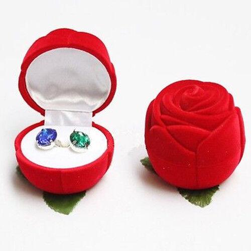 HOT Velvet Rose Engagement Wedding Earring Ring Pendant Jewelry Display Box Gift