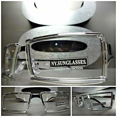 Men's Women UNIQUE CONTEMPORARY MODERN Style Clear Lens EYE GLASSES Silver Frame