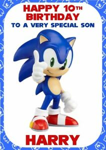 Personalised Birthday Card Sonic The Hedgehog Any Name Relation Age Greeting Cards Invitations Home Garden Greeting Cards Party Supply