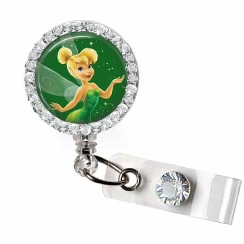 Rhinestone Fairy Tinkerbell Bottle Cap Retractable ID Badge Reel Nurse BadgeReel