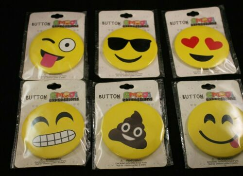 """Face w// Stuck Out Tongue /& Winking Eye 3/"""" Emoji Expressions Buttons//Pins"""