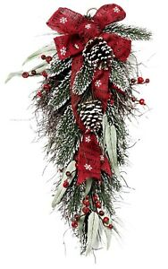 26-034-H-Holiday-Pine-Teardrop-Swag-Wreath-Berry-and-Burlap-Ribbon-Accent-Garland