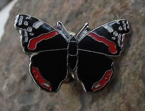 North American Red Admiral Butterfly Nymphalidae Insect Brooch Pin Badge