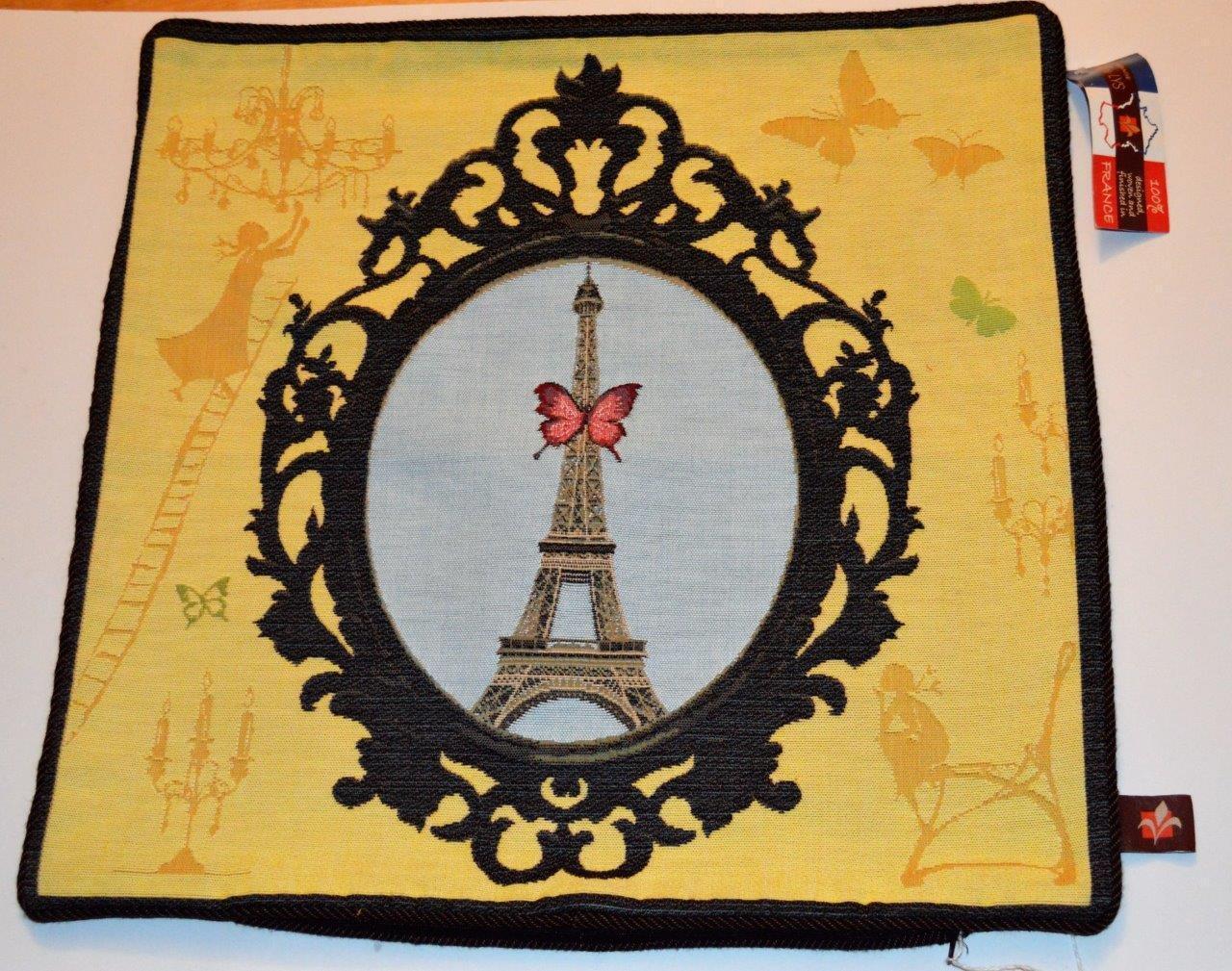 Neuf étiquette Art de Lys France Jaquard Tapisserie Tour Eiffel 48.3cmx48.3cm