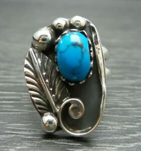 Vintage Sterling Silver Turquoise Ring Size 8.5