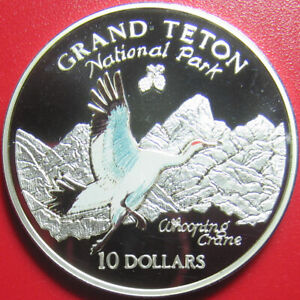 1997-COOK-ISLANDS-10-SILVER-PROOF-COLORED-WHOOPING-CRANE-GRAND-TETON-PARK-RARE