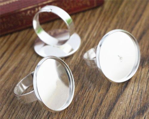 20 mm Lumière Plaqué Argent Ring Blanksfit 20 mm cabochons10pcsRéglable