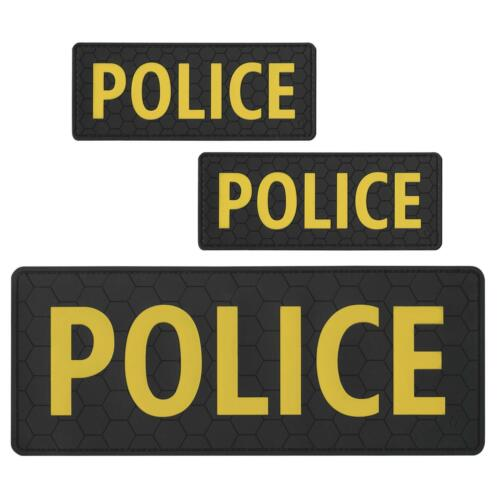 set of 3 POLICE rubber PVC plate carrier body armor SWAT hook patches